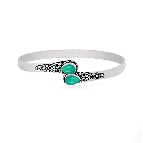 (925 Silver Plated Genuine Pear Shape Two Stone Turquoise Cuff Bangle Handmade Vintage Bohemian Style Jewelry for Women Girls)