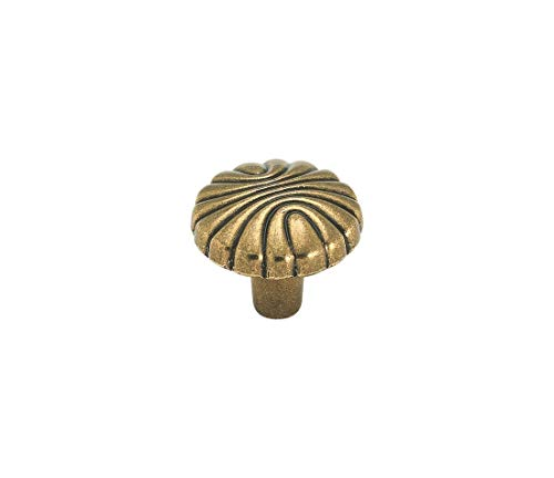 Amerock Natural Elegance 1-1/4 in (32 mm) Diameter Burnished Brass Cabinet Knob