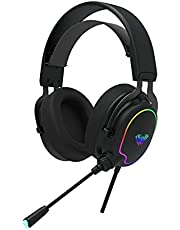 aula F606 RGB Gaming Headset Lightweight Design With Noise Cancelling Microphone Single 3.5mm Plug For Mobile / PS4 / PC And Laptop - 2725609859511