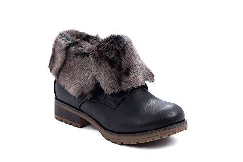 Refresh Women Wynne Leatherette Fold Down Fur Trim Combat Bootie (9, Black-Fur)