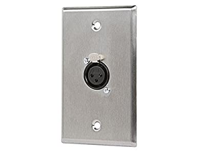 Monoprice 107396 XLR Female 3 -Pin One-Port Zinc Alloy Wall Plate