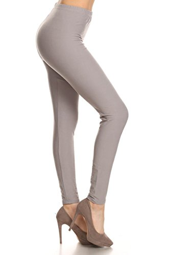 LDR128-LightGray Basic Solid Leggings, One -