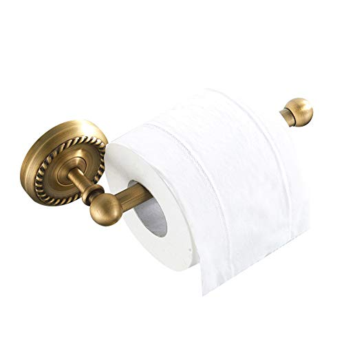 BATHSIR Classical Pattern Toilet Paper Holder Antique Brass,Bath Tissue Holder Round Base Wall Mount NO Sharp Angels ()