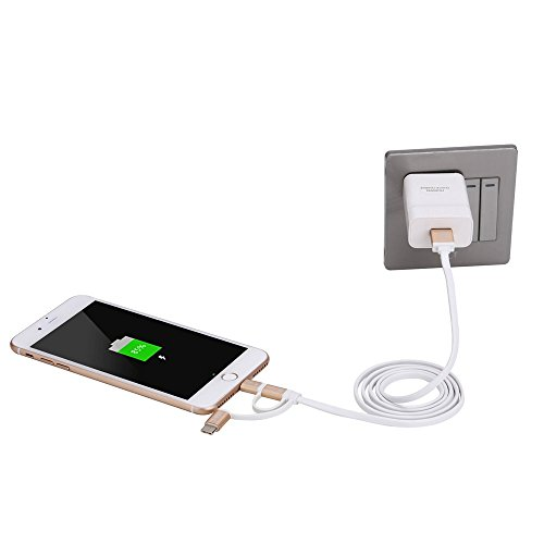 [Apple MFI Certified] Amplim 3-in-1 Lightning, Type C, MicroUSB To USB Charge/Sync Cable - Silver