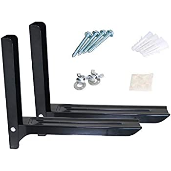 Kai Range Twin Pack Microwave Wall Mount Brackets Complete with Fixing Kit & Securing Grommets for Home & Kitchen - Black