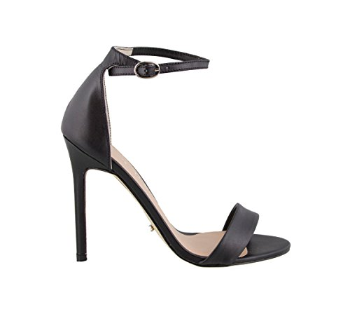 Tony Bianco Karvan Dress Sandals - Womens Leather Stiletto Heel Sandal In A Simple Two Strap Design With An Ankle Buckle Closure (7, Black Capretto) by Tony Bianco