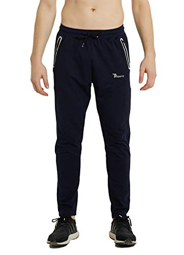 TBMPOY Mens Performance Tapered Casual Track Pants Cotton Fitness Activewear(Navy,us S)