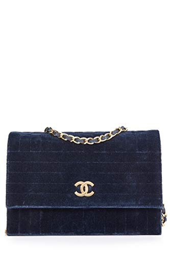 (CHANEL Navy Velvet Wallet on Chain (WOC) (Pre-Owned))
