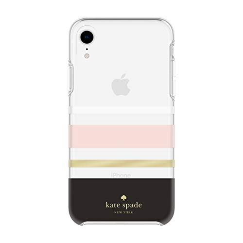 (Kate Spade New York Phone Case for Apple iPhone XR Protective Phone Cases with Slim Design Drop Protection and Floral Print, Charlotte Stripe Black/Cream/Blush/Gold Foil)