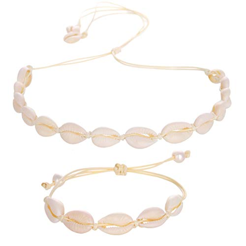 Barch Young Natural Cowrie Shell Choker Bracelet Jewelry Set Adjustable for Women Bohemia Style (1# White-Beige)