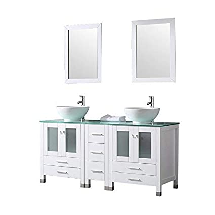 . WONLINE 60  White Double Wood Bathroom Vanity Cabinet and Round Ceramic  Sink w Mirror Combo Wash Basin with Faucet  Round Bowl