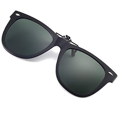 Polarized Clip-on Sunglasses UV 400 Lens TR 90 Frame Fishing Driving Flip Up Clip On Sun Glasses Over Prescription Glasses (Dark Green)
