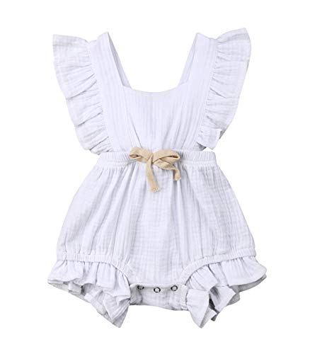VISGOGO Toddler Baby Girl Ruffled Rompers Sleeveless Cotton Romper Bodysuit Jumpsuit Clothes (0-6 Months, White)