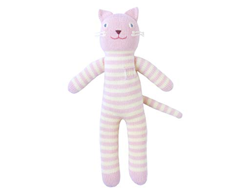 Blabla Rose The Cat Plush Doll - Knit Stuffed Animal for Kids. Cute, Cuddly & Soft Cotton Toy. Perfect, Forever Cherished. Eco-Friendly. Certified Safe & Non-Toxic. (Blabla Pink Cat)