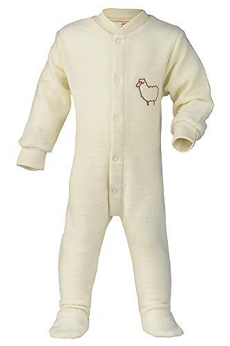 (Footed Sleep and Play: Organic Wool Footie Sleeper Pajamas for Baby Boys or Girls (EU 74-80   6-12 months, Natural))