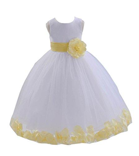 (ekidsbridal White Floral Rose Petals Flower Girl Dress Birthday Girl Dress Junior Flower Girl Dresses 302s)