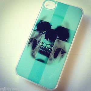 CLEAR Snap On Case iPhone 4 4S Plastic Cover ICEBERG BLUE CROSS SKULL sugar teal
