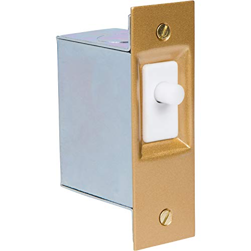 """Morris Products Hands-Free Lighting Door Switch - For Closets, Dark Rooms, Walk-Ins - Push Button, Cover Plate, Mounting Hardware, Metal Box - AC/DC SPST 6"""" Wire Leads - 1.25"""" x 2.75"""" x 2"""""""