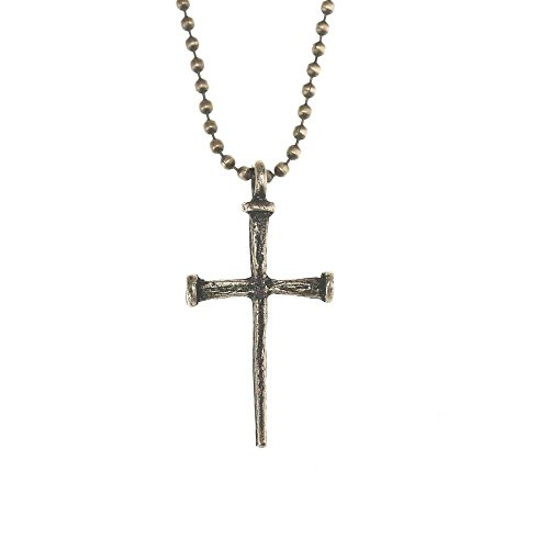 Light-Tone, Texture Cross With Nail Design Pewter 24-Inch Pendant Necklace