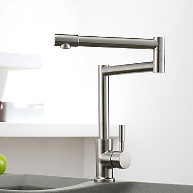 Vessel Single Handle One Hole with Nickel Brushed Kitchen faucet Clear by ZHENG