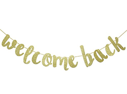 Welcome Back Gold Glitter Hanging Sign Banner- First Day of School, Classroom Decor,Back to School Party Decorations ()