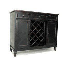 Wayborn Home Furnishing Furniture 4584 Sideboard with Wine Rack, Antiue Black