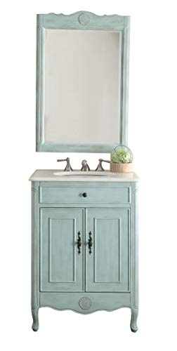 26″ Cottage Style Pastel Light Blue Daleville Bathroom Sink Vanity & Mirror Set- Model # 838LB-MIR For Sale