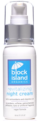 Block Island Organics - Organic Revitalizing Night Cream with Antioxidants Vitamin C and E - Deeply Moisturizes the Face, Neck, Eyes and Décolleté - Vegan Formula - EWG Top Rated - 2 FL OZ Antioxidant Vitamin C Eye Cream