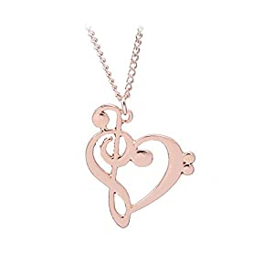 Skyeye Necklace Rose Gold Heart Hollowed Out Notes Style Sweet Lovely Fashion Necklace Simple Necklace For Women Girl…