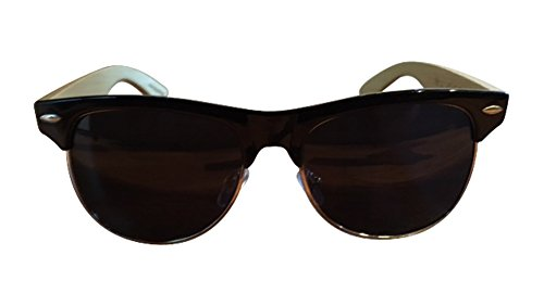 Unisex Dapper Wooden Arm Sunglasses Polarized with UV 400 protection (Black and Silver Rim, - Sunglasses Woodys