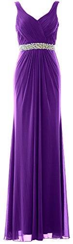 cinghie Prom Donna matrimonio MACloth formale sera Long V abito Guaina da Dress scollo a Purple dXqdzSx
