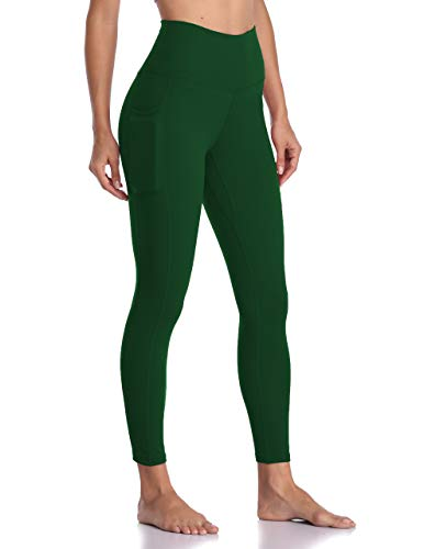 Colorfulkoala Women's High Waisted Yoga Pants 7/8 Length Leggings with Pockets (M, Forest Green)