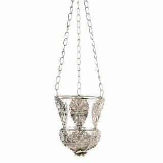 Ornate Elegant Silver Hanging Candle Cup Lamp Chandelier