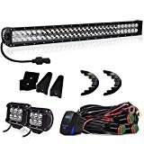"""TURBOSII 32""""180W Curved Led Light Bar SPOT FLOOD w/4"""" Pods Cube Auxiliary Driving Fog light On Bumper Grill Windshield Roof"""