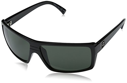 VonZipper Snark Rectangular Sunglasses,Black Gloss & Grey,One Size