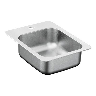 Moen G204571 2000 Series Stainless Steel 20 Gauge Single Bowl Drop in Sink, 17 5/16