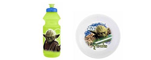 Star Wars Yoda Sports Water Bottle and Cereal Bowls Bundle (Yoda Bowl)
