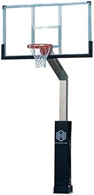 Amazon.com : DOMINATOR Goal Adjustable Height Aluminum In Ground Basketball  Hoop with Backboard and Over-Court Arm- Premium Tempered Glass Backboard… :  Sports & Outdoors