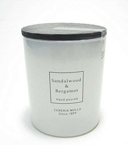 Cereria Molla Hand Poured Luxury Candle White Jar ''Sandalwood & Bergamot'' Made in Spain by Cereria Molla