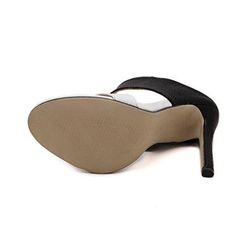 Sandalias de Correa de Elegante Tacón de de Chanclas Tobillo Aguja 4Bw4rq