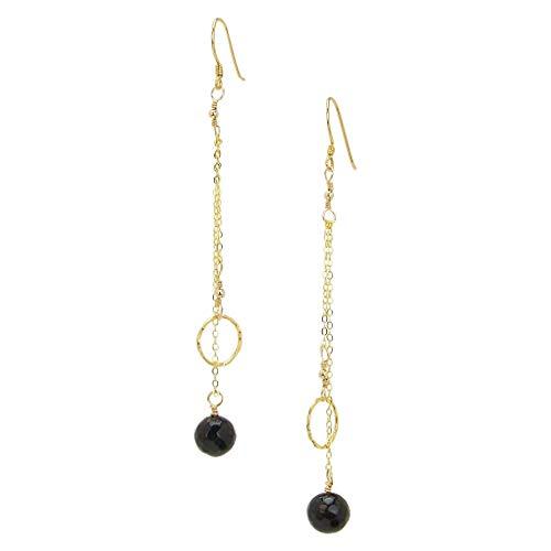 Gold Vermeil Onyx Earrings - Charlene K Dangle Circle and Onyx Charm Earrings in Gold Vermeil