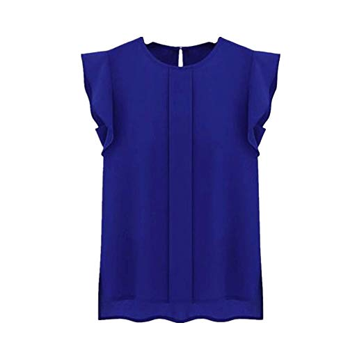 86178a04071 Womens Blouse Casual Loose Chiffon Short Round Neck Tulip Sleeve Shirt Tops  (Blue