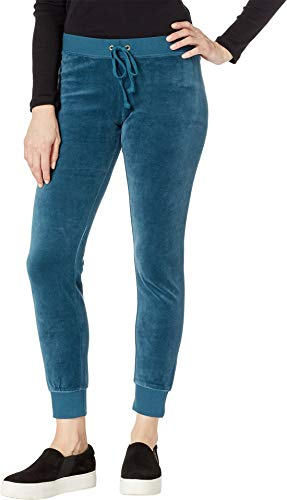 Juicy Couture Women's Velour Zuma Pants with Pockets Eloquent Petrol X-Large 28
