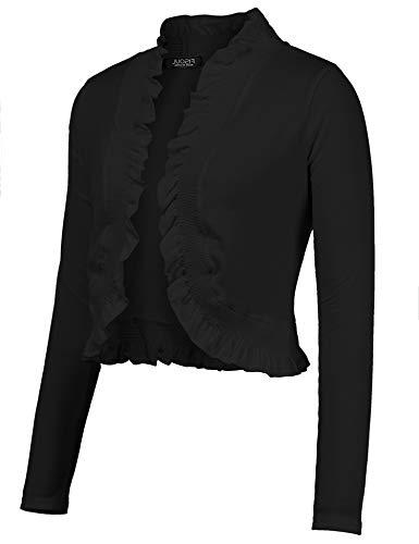 FISOUL Women's Open Front Cropped Cardigan Lone Sleeve Casual Shrugs Jacket Draped Ruffles Lightweight Bolero Shrugs Black S ()
