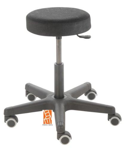 Arbeitshocker , Arzthocker, Drehhocker, Rollhocker Modell comfort, Hubbereich ca. 46 - 59 cm, Rollen mit weicher Radbandage, Sitzfarbe schwarz
