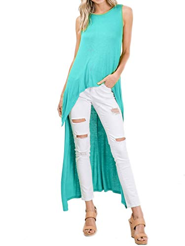 MixMatchy Women's Hi Low Curved Front Slit Look Sleeveless Tunic Fashion Tops Mint - Looks Mint