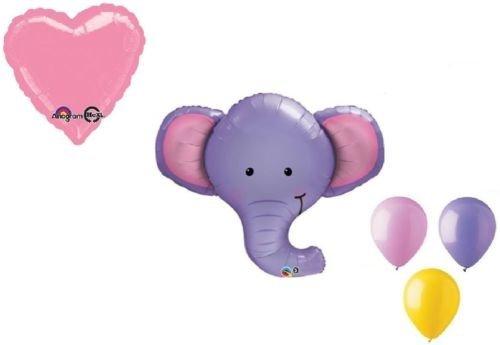 loonballoon Elephant Ellieジャングルサファリ動物園ガールズベビーシャワーパーティー5 Mylar &ラテックスバルーン   B01FTXP728
