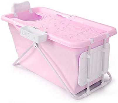 家族浴室用エアーポンプ付きインフレータブルバスPVC折りたたみポータブルインフレータブルバスタブブローアップエアバスタブPVC滑り止め (Color : Pink)