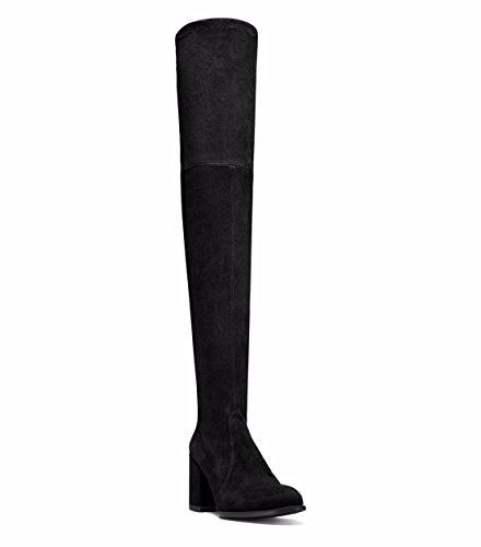 moda black mujer e Invierno ronda Otoño gamuza stilettos calzado botas de 7ESqRv4xw