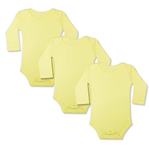 GLEAMING GRAIN 3-Pack Newborn Baby Onesies/Bodysuits Boys Baby Girls Baby Yellow Onesie Unisex Onesies One-Piece Long Sleeve - Long Yellow Sleeve Onesie